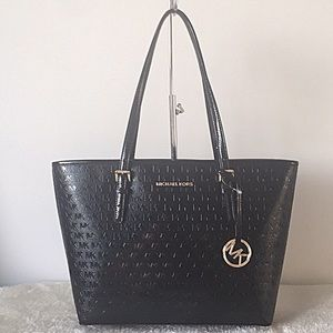 Michael Kors Jet Set Logo Patent Leather Tote